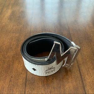 White MCM reversible belt